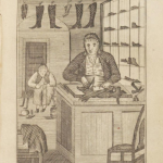 A black and white illustration of an early nineteenth century shoemaker cutting leather. Behind him, finished shoes dry on a clothes line and are displayed in compartments along the wall.