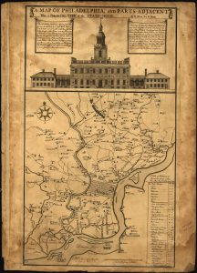 A sepia tone map of Philadelphia with a large illustration of Independence Hall above it. Prominent places in the surrounding area are marked.