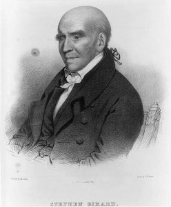 A black and white illustration of Stephen Girard in old age