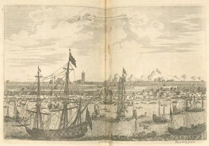 A drawing of the port of Canton with several tall ships in the harbor.
