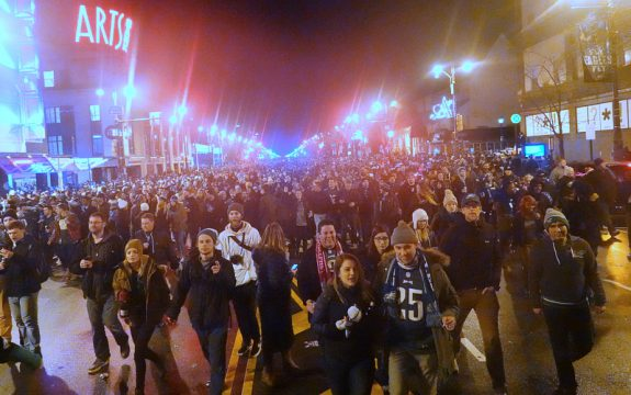 Photograph of fans on Broad Street