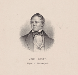 a black and white vignetted illustration of Mayor John Smith