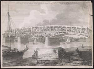 A black and white illustration of an uncovered wooden bridge spanning a river