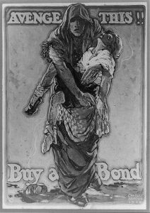 "A black and white propaganda poster showing a cloaked woman carrying a slain girl in her arms. Text reads ""Avenge This! Buy a Bond!"""