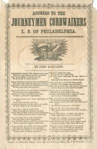 1850 song sheet urging Journeyman Cordwainers to once again push for a union.