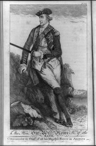 Drawing of William Howe, reclinging slightly against a hill, holding a sword and looking to the side.