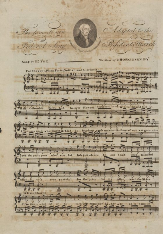 "An late eighteenth century page of sheet music for ""Hail, Columbia."""