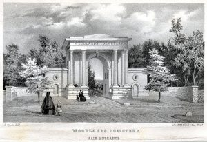 A black and white illustration of the front entrance of a rural cemetery with mourners entering.