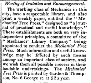 an article advertising the publication of the Mechanics' Free Press in 1829.