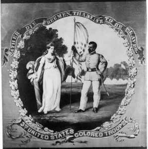 "A black and white photograph of the 3rd USTC regimental flag. Image is of a black soldier being handed a flag by Columbia, personification of the United States. A banner surrounding the image reads ""Rather die freemen than live to be slaves, 3rd United States Colored Troops"""