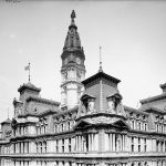 A black and white photograph of Philadelphia City Hall, taken just after its completion in the early twentieth century.