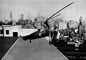 Eastern Airlines' Kellett KD-1 Autogiro is shown here taking off from the roof of the Philadelphia's Post Office at Thirtieth and Market Streets in 1939.
