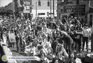 A huge throng crowded the streets to celebrate the Flyers' first Stanley Cup victory in 1974. PhillyHistory.com