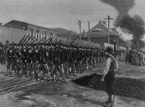 An engraving of National Guardsmen marching in formation in front of the Homestead Steel Plant.