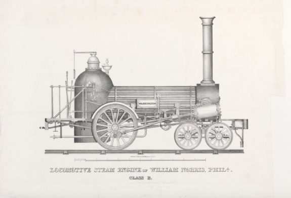 Illustration of an early steam-powered locomotive.