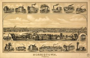 A sepia tone illustration of Norristown from the Schuylkill River framed by smaller illustrations of industrial buildings