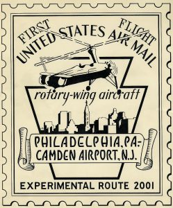 Sketch of cachet art for Experimental Route 2001, Philadelphia, Pennsylvania, to Camden Airport, New Jersey