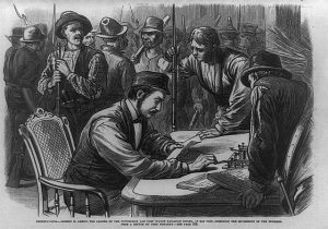 Black and gray illustration depicting Robert Ammon sitting at a table, reading a document, surrounded by several men.