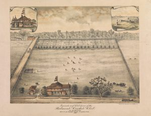 A bird's eye illustration of the clubhouse, cricket fields, and tennis court at Belmont. The clubhouse and tennis courts are highlighted in the top right and left corners, respectively. Text reads