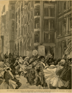 A black and white illustration of a large, rowdy crowd of costumed revelers in the streets of philadelphia