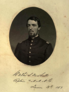 A black and white head and shoulder photograph of Walter S. Newhall in military uniform. Text reads