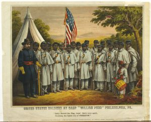 "A color illustration of a group of USCT soldiers in uniform with a white officer. One soldier holds a US flag and a small child stands with them in uniform playing a drum. Text reads ""United States Soldiers at Camp ""William Penn"" Philadelphia, PA. Rally Round the Flag, boys, Rally once again, Shouting the battle cry of FREEDOM!"""
