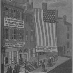a black and white illustration of the Free Military School for Applicants for Command Command of Colored Troops, held in a large row house. An enormous american flag hangs from the roof to nearly street level near the front entrance.