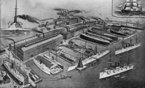 Lithograph Showing an Aerial View of Cramp's Shipyard.