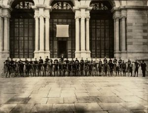 Cyclists Gathering at Memorial Hall in 1885.
