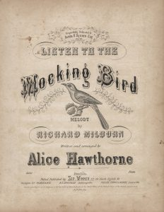 "The cover of ""Listen to the Mockingbird"" sheet music"