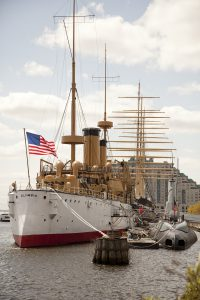 The USS Olympia docked at Penn's Landing.