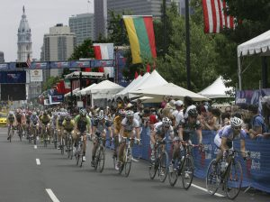 Cyclists Riding During the Philadelphia International Cycling Classic.