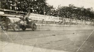 A Car Races Past the Crowd at the 1910 Fairmount Park Races.