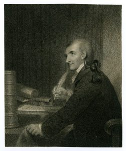 A portrait of Francis Hopkinson with a quill in his hand.