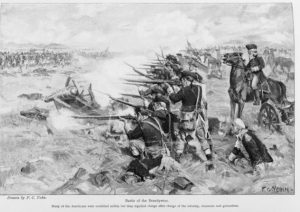 a black and white illustration of Revolutionary War soldiers shooting in a row