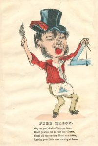 a card depicting a caricature of a mason with disparaging verse below