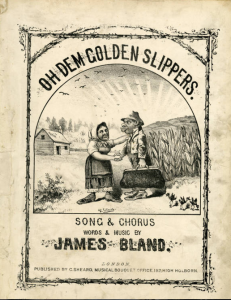 Yellowed song book with a cartoon drawing of an african american woman and an african american man standing outside near a field, arguing