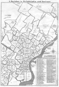 a map showing the borders of Philadelphia's parishes as they existed in 1949