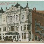 A color illustrated postcard of the Park Theater
