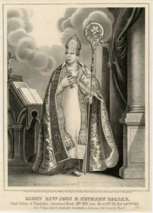 a black and white illustration of Saint John Neumann in life, wearing vestments and holding a crosier