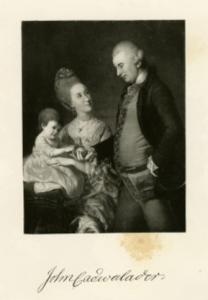 a black and white illustration of John Cadwalader with wife and child