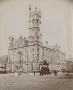 a black and white photograph of the Masonic Temple in Philadelphia