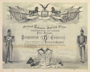 "a late nineteenth century membership certificate from the Pennsylvania National Guard featuring soldiers, American Flags, artillery, calvary horses, and the motto ""virtue, liberty, independence"""