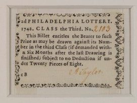 A color photograph of a two-pence lottery ticket from the 1748 Philadelphia lottery.