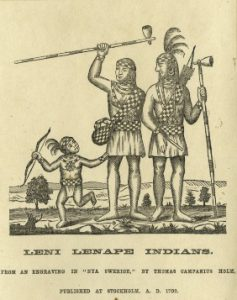 an engraving of two adult Lenni Lenape and a child