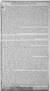 A 1771 Broadside Banning Riotous Protests in the Pennsylvania Colonies.