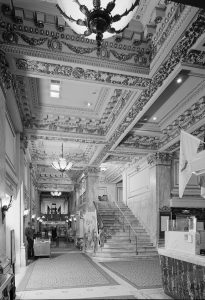 Photograph of the Bellevue-Stratford Hotel's Lobby in 1976.