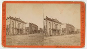 A black and white stereoscopic photograph of Horticultural Hall and the Academy of Music.