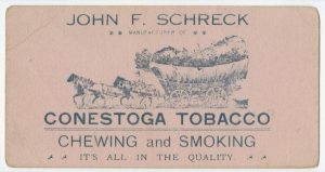 an advertisement for Conestoga tobacco showing a horse-drawn covered wagon laden with tobacco