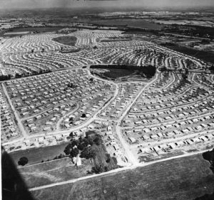 Aerial View of Levittown Pennsylvania Under Construction in 1952.